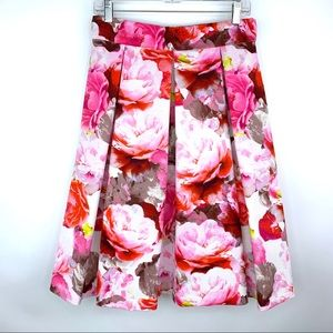 Eliza J Pink Floral Pleated Midi Skirt